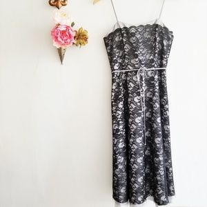 White House & Black Lace and Gray Formal Dress